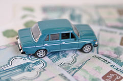 Car and russian roubles Royalty Free Stock Photography