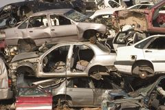 Car's cemetery. Car's junk Royalty Free Stock Image