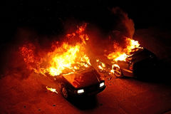 Cars on Fire Stock Images