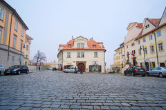 Car`s parking on a street in the historical part of Prague Royalty Free Stock Photography