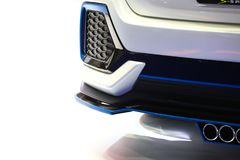Car`s rear bumper details. Close up of Car`s rear bumper details in luxury car in display Royalty Free Stock Image