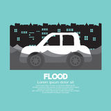 Car's Side View In A Flood. Vector Illustration Royalty Free Stock Images