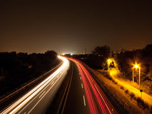 Car`s trails. On the highway Stock Images
