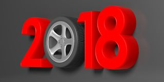 2018 with car`s wheel on grey background. 3d illustration. New year 2018 with car`s wheel on grey background. 3d illustration Stock Images