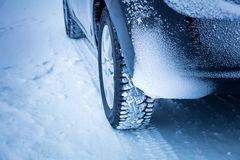 Car`s Winter tyres in extreme cold temperature Stock Photos