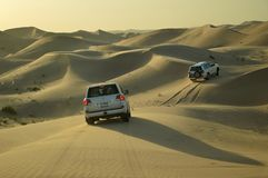 Car safari in the desert. Between Dubai and Abu Dhabi royalty free stock photos