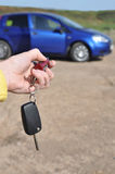 Car Safety Alarm and Key. Automatically unlock the doors, the hand that directs them Royalty Free Stock Image