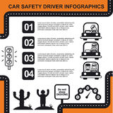 Car safety driver infographic with charts vector illustration. Car safety driver infographic, black and white Stock Image