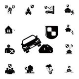 Car and safety shield icon. Detailed set of insurance icons. Premium quality graphic design sign. One of the collection icons for. Websites, web design, mobile Stock Photography