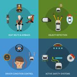 Car Safety System Set Royalty Free Stock Photography