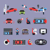 Car Safety Systems Icons Set Stock Image