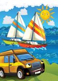 The car and the sail boats Stock Image