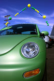 Car sale. At dealership, green colorful car Stock Photo