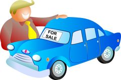 Car sale. Man looking at a car for sale - icon people series Royalty Free Stock Images