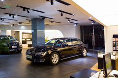 Car for sale. Audi car in dealership showroom for sale stock image