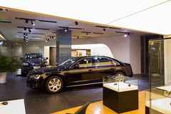 Car for sale. Audi car in dealership showroom for sale royalty free stock images