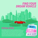Car sale banner. Vector illustration with cartoon-style red cabriolet car on urban silhouette background Stock Image