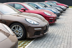 Porsche car for sale. Car for sale,cars parked in the parking in a row,Porsche Panamera royalty free stock image