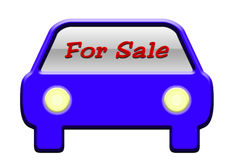 Car For Sale Illustration. Illustration of a blue car with glowing headlights with the words For Sale in red on the windshield.  White background Stock Photography