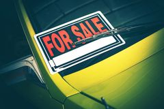 Car For Sale by Owner. Car For Sale Sign Under Windshield Wiper. Closeup Photo. Vehicle Selling Theme Royalty Free Stock Photos