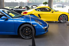 Car for sale. Sport car at car dealership showroom,porsche stock image