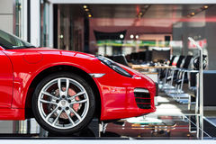 Car for sale. Sport car at car dealership showroom,porsche boxster stock image