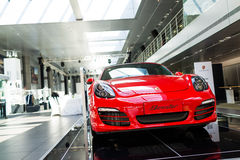 Car for sale. Sport car at car dealership showroom,porsche boxster royalty free stock images