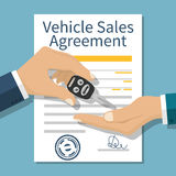 Car sale vector. Car sale. Hand buyer and seller handing keys to car on background document contract form. Purchase sale. Vector illustration flat design royalty free illustration