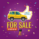 Car for sale. Vector illustration about Best offer of cars with text For sale and keys on purple background Stock Photo