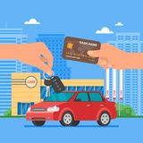 Car sale vector illustration. Customer buying auto from dealer concept. Salesman giving key to new owner. Stock Image