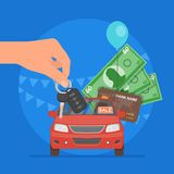Car sale vector illustration. Customer buying auto from dealer concept. Salesman giving key to new owner. Royalty Free Stock Image