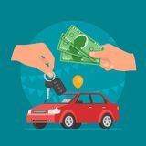 Car sale vector illustration. Customer buying car from dealer concept. Salesman giving key to new owner. Royalty Free Stock Image