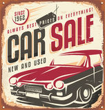 Car sale vintage metal sign Royalty Free Stock Image