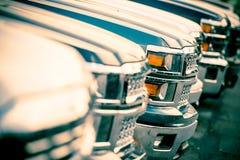 Car Sales. Car Dealer Cars Stock Row Closeup. Brand New Pickup Cars For Sale Stock Image