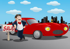 Car Sales man. Illustration of a salesman offering luxury red car over city background Stock Photo