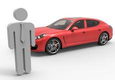 Car sales man illustration Stock Images