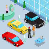 Car Sales Showroom Interior. Isometric Transport. Car Sales Showroom Interior with Offroad Car and Sport Cars. Customer Buying a New Car. Isometric Transport Royalty Free Stock Photography