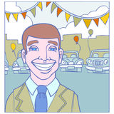 Car Salesman. Image of smiling car salesman stock illustration