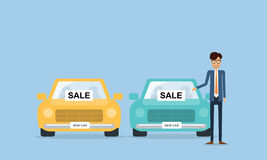 Car salesman and business people with flat cartoon character Royalty Free Stock Photo