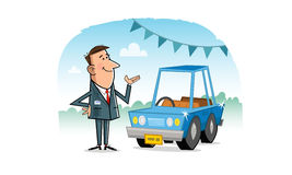 Car Salesman. Cartoon scene with Car Salesman and car. Vector illustration royalty free illustration