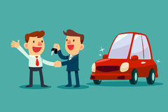 Car salesman give a handshake and new car key to businessman. Car sale. Auto business concept Stock Photo