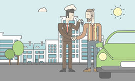 Car salesman giving the car keys to a new owner. An asian car salesman giving the car keys to a new owner on city background. Vector line design illustration Royalty Free Stock Image