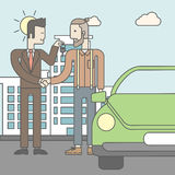 Car salesman giving the car keys to a new owner. An asian car salesman giving the car keys to a new owner on city background. Vector line design illustration Royalty Free Stock Photography
