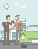 Car salesman giving the car keys to a new owner. An asian car salesman giving the car keys to a new owner on city background. Vector line design illustration Stock Photo