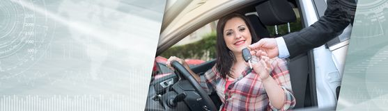 Car salesman giving car keys to young woman, light effect. panoramic banner. Car salesman giving car keys to pretty young woman, light effect. panoramic banner royalty free stock images