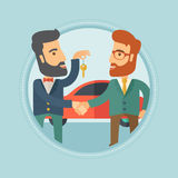 Car salesman giving key to new owner. Hipster car salesman giving car key to a new owner on the background of car shop. Man buying car and shaking hand to a Royalty Free Stock Image