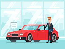 Free Car Salesman In Dealer Showroom. New Cars Sales, Happy Seller Shows Premium Vehicle To Buyer Cartoon Concept Stock Photo - 121334950