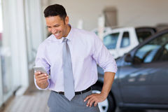 Car salesman phone Royalty Free Stock Photography