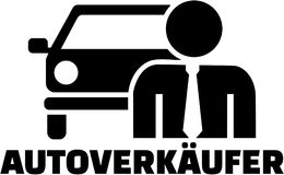 Car Salesman. Pictogram with german job title. Stock Photography