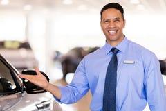 Car salesman presenting Stock Photo